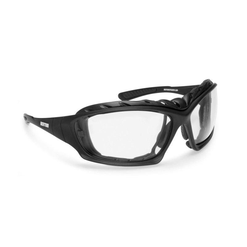 Photochromic Sunglasses for Motorcycle, Ski and Free Fly with Optical Insert F366A - Bertoni Italy
