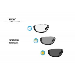 Photochromic Sunglasses for Motorcycle, Ski and Free Fly with Optical Insert F366A - photochromic lenses effect - Bertoni Italy