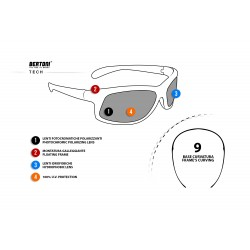 Photochromic Polarized Sunglasses for Moto, Fishing, Running, Watersports and Ski P545FT - technical sheet - Bertoni Italy