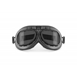 Vintage Motorcycle Goggles - Mat Black - Anticrash Photochromic Lenses by Bertoni Italy - F195PH