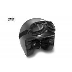 Vintage Motorcycle Goggles - Mat Black - Anticrash Photochromic Lenses by Bertoni Italy - F195PH Helmet's Friendly