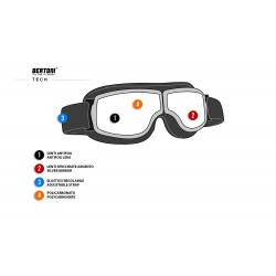 Motorcycle Goggles AF188 -  technical sheet - Bertoni Italy