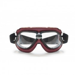 Red Leather Motorcycle Goggles AF196R - Bertoni Italy