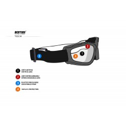 Multilens Goggles AF120B - for Motorcycle and Extreme Sports - technical sheet - Bertoni Italy