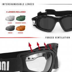 Multilens Goggles AF120B - for Motorcycle and Extreme Sports - details - Bertoni Italy