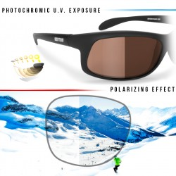 Photochromic Polarized Sunglasses for Moto, Fishing, Running, Watersports and Ski P545FT - details - Bertoni Italy