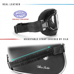 Motocycle Leather Goggles AF193L - details - Bertoni  Italy
