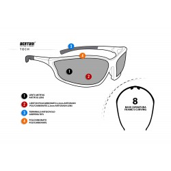 Antifog Sunglasses with Optical Insert AF100 - Motorcycle, Ski and Shooting - technical sheet - Bertoni Italy