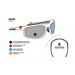 Polarized Sunglasses P180 for Cycling, Fishing, Watersports, Golf, Running, Ski and Free Fly - technical sheet - Bertoni Italy