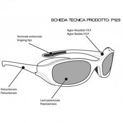 Occhiali Polarizzati Antiriflesso P123 per Moto, Sci, Trekking e Pesca - scheda tecnica - Bertoni Italy