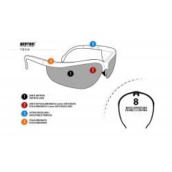 Multilenses Antifog Sunglasses AF159A - Shooting Range, Motorcycle and Ski - technical sheet - Bertoni Italy