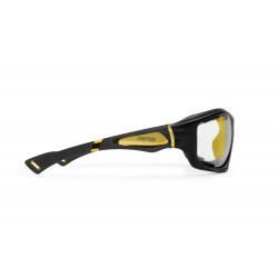 Occhiali Fotocromatici F1000C per Moto, Sci, Ciclismo MTB, Volo, Running e Golf - visione laterale - Bertoni Italy