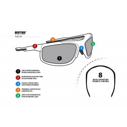 Photochromic Sunglasses F180 - Motorcycle Ski Cycling Golf Running Skydiving - technical sheet - Bertoni taly