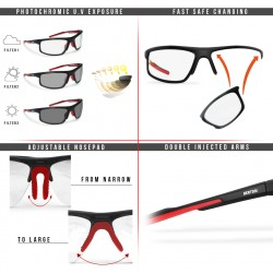 Photochromic Sunglasses F180 - Motorcycle Ski Cycling Golf Running Skydiving - details - Bertoni taly