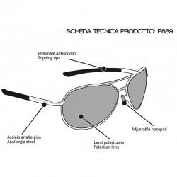 Occhiali Polarizzati P689D - Moto Pesca Sport Acquatici - scheda tecnica - Bertoni Italy