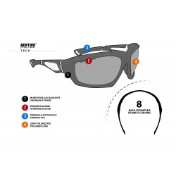Polarized Sunglasses P1000 - Motorcycle Cycling Ski Fishing Watersports - technical sheet - Bertoni Italy